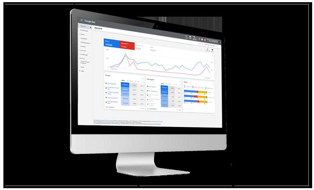 chriscorp google Werbung Bildschirm mit Übersicht