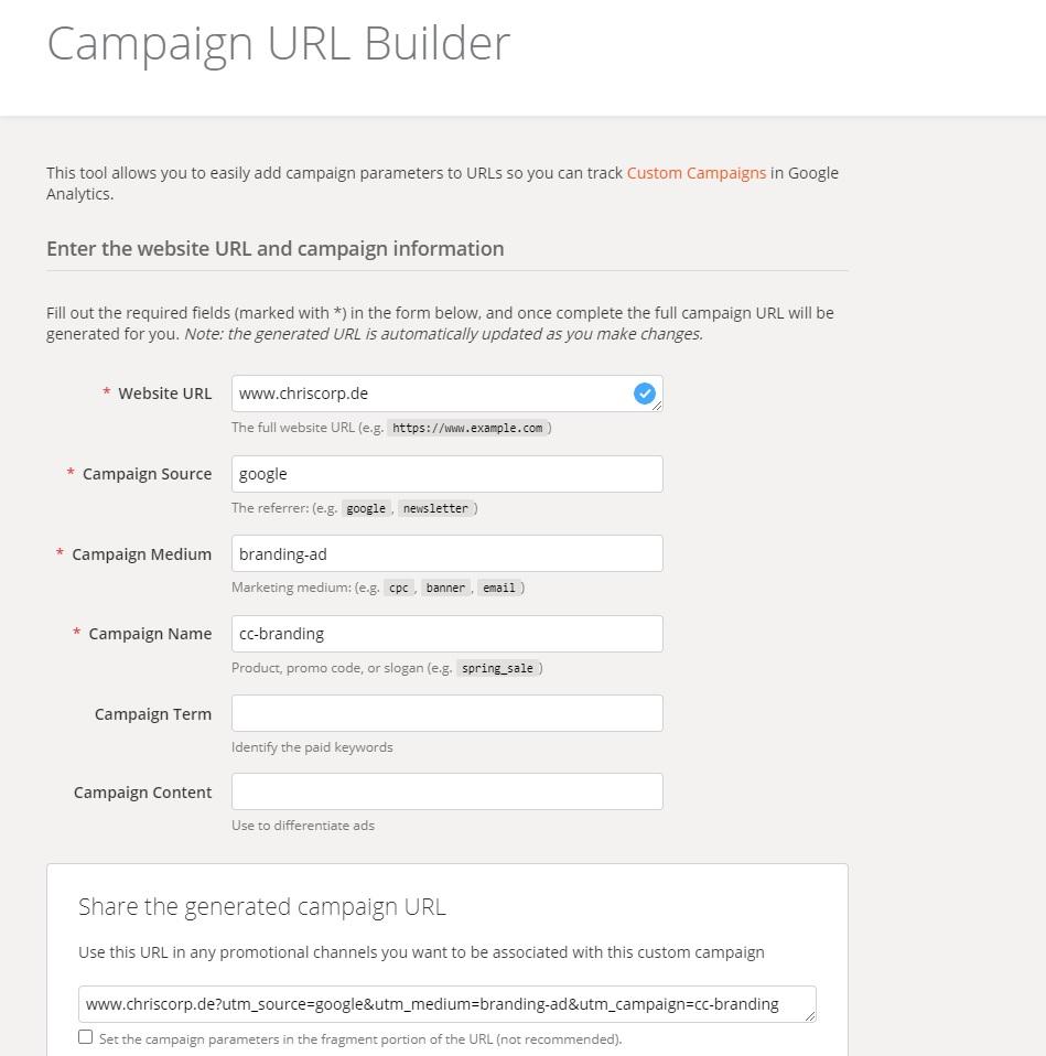 UTM-Parameter URL Campaign Builder chriscorp online marketing